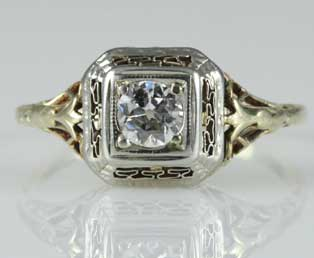 Square Topped Filigree Engagement Ring