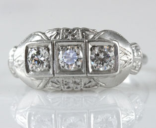 Platinum Three Diamond Wedding Ring