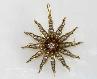 Antique Sunburst Pendant Brooch