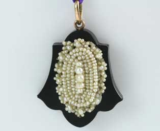 Antique Onyx Pearl Pendant