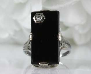 Black Onyx Diamond Gold Ring
