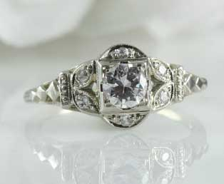 romantic diamond engagement estate ring - Estate Wedding Rings