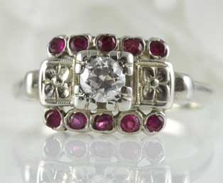Estate Diamond Ruby Engagement Ring