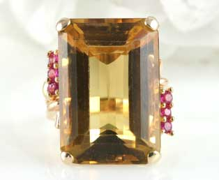 1940s Large Citrine Ruby Ring