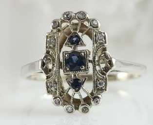 Vintage Long Sapphire Ring