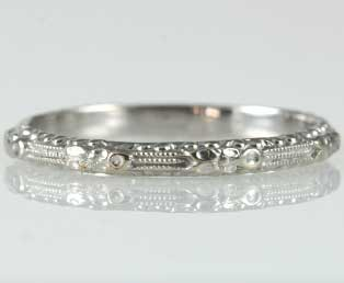 Thin Floral Wedding Band