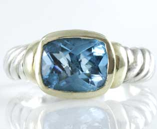 Yurman Blue Topaz Silver Ring