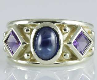 Vintage Sapphire Amethyst Ring