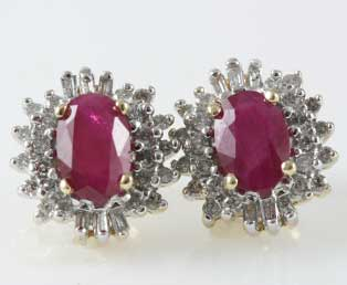 Ruby Diamond Pierced Earrings