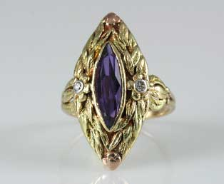 Long Amethyst Floral Ring