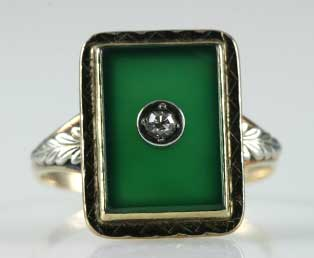 Green Chalcedony Ring Vintage