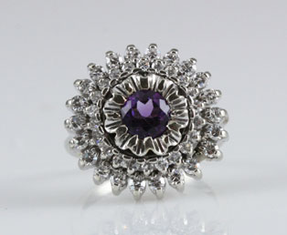 Amethyst Diamond White Gold Ring