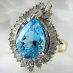 Big Blue Topaz Diamond Ring