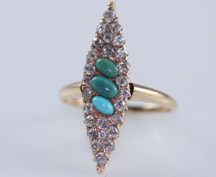 Antique Turquoise Diamond Ring