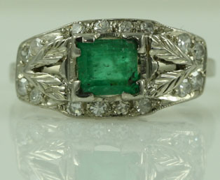 Antique Emerald Diamond Ring