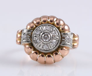 Retro Diamond Rose Gold Ring
