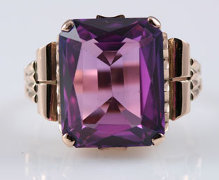 1940s Purple Rose Gold Ring