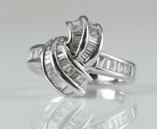 Platinum Diamond Baguette Ring