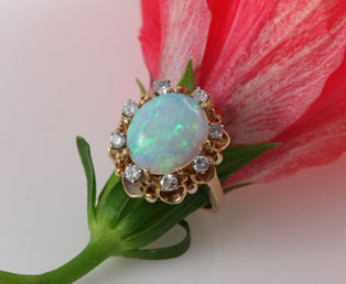 Colorful Opal Diamond Ring