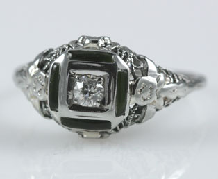Diamond Onyx Filigree Ring