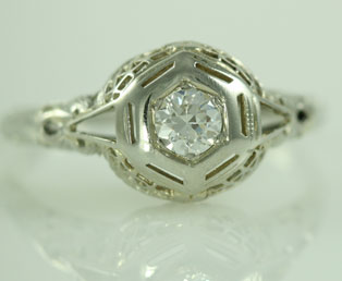 Old European Diamond Filigree Ring