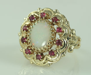 Very Large Opal And Ruby 14kt Gold Estate Jewelry Ring