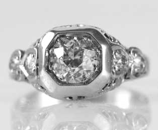 European Cut Diamond Wedding Ring