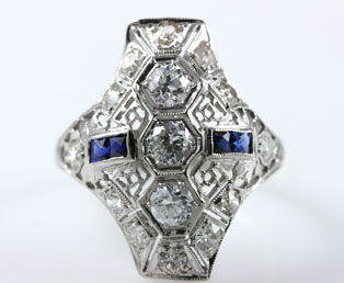 Deco Diamond Filigree Dinner Ring