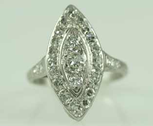 Diamond Platinum Antique Ring