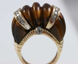 Tiger Eye Diamond Ring