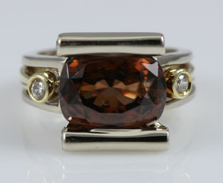 Brown Topaz Diamond Ring