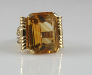 Huge Citrine Retro Ring