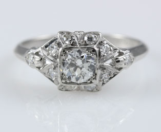 Platinum Art Deco Wedding Ring
