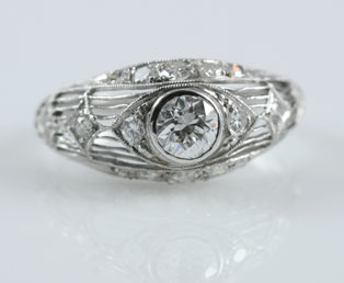 Platinum European Cut Wedding Ring