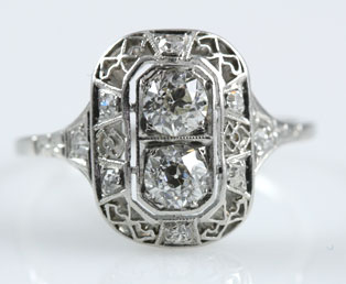 Twin Diamond Filigree Wedding Ring