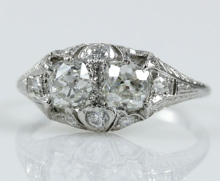 Mine Cut Platinum Filigree Wedding Ring