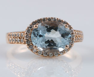 LeVian Aquamarine Diamond Ring
