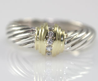 Yurman Silver Gold Diamond Ring