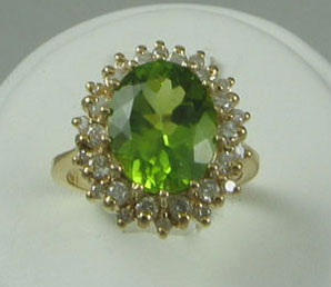 Oval Peridot Diamond Ring