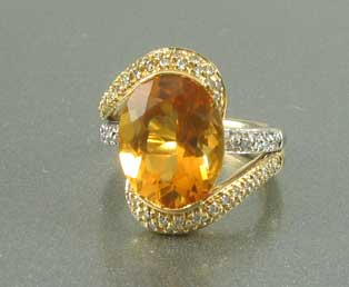 Dark Citrine Diamond Ring