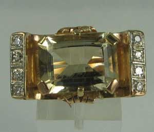 Retro Citrine Diamond Ring