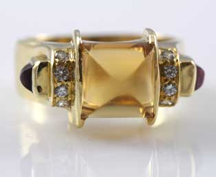 Estate Cabochon Citrine, Diamond Ring 18KT Gold Chris Correia