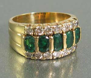 Natural Emerald Wide Band