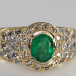 Natural Colombian Emerald Diamond Ring