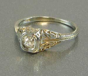 Dainty Diamond Filigree Ring