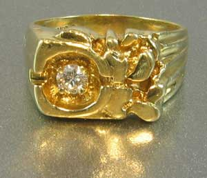 Gold Nugget Diamond Ring