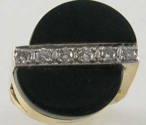 Black Onyx Diamond Deco Ring