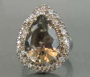 Big Smoky Quartz Pink Brown Diamond Ring
