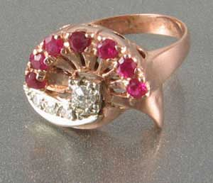 Retro Ruby Diamond Ring