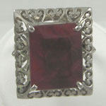 Huge Natural Ruby and Sterling Silver Filigree Ring